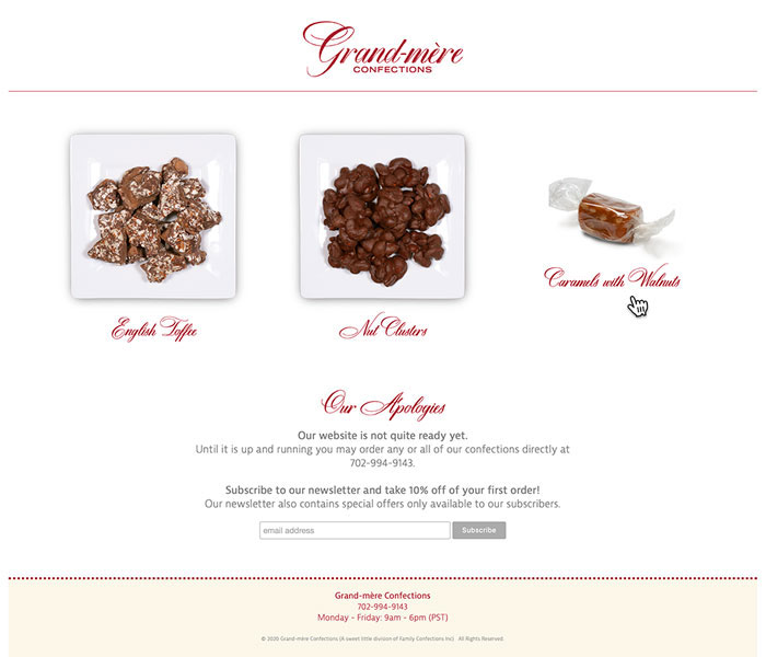 Grand-mere Confections website
