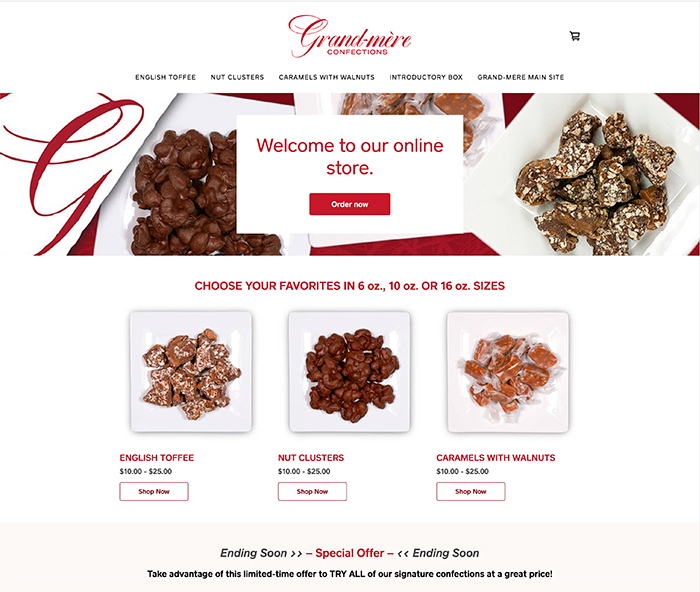 Grand-mere Confections Ecommerce site